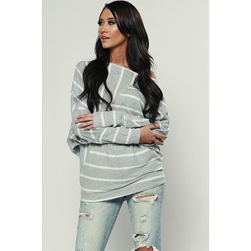 Flashback Striped Tunic Top (Grey/Ivory)