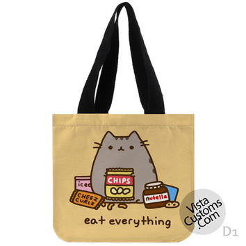 Pusheen The Cat Eat Every Thing New Hot, handmade bag, canvas bag, tote bag