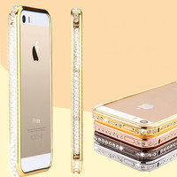For iPhone 6 Phone Case Gold Luxury Full Diamond Aluminum Metal Case For Apple iPhone 6 4.7 inch Fashion Women Accessories Cover