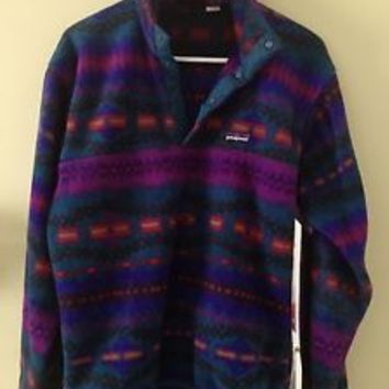 Vintage Patagonia Aztec Fleece Snap t Jacket - feece synchilla Men's Small