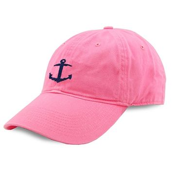 Anchor Needlepoint Hat in Pink by Smathers & Branson