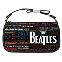 The Beatles Song Titles Typography Handbag Shoulder Bag Black Leather