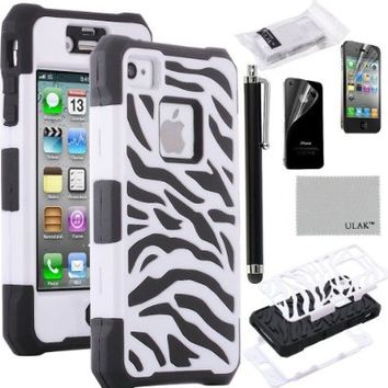 iPhone 4S Case, iPhone 4 Case, ULAK Unique Designed Heavy Duty Hybrid Rugged High Impact Shockproof Hard Case for iPhone 4S / iPhone 4 Cover with Screen Protector and Stylus (Seeing Sound+Black)