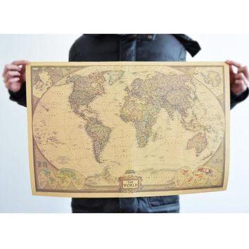 Living Room World Map Leather Sea Wall Sticker [9576040527]