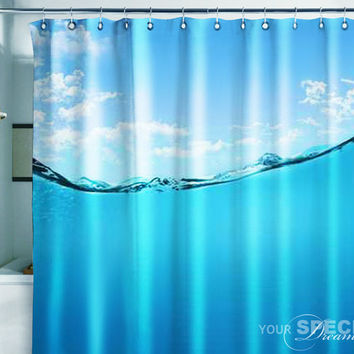 Bath Shower Curtain water diving wave swimming pool pond