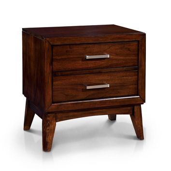 Furniture of America Kasten Brown Cherry 2-Drawer Mid-century Style Nightstand | Overstock.com Shopping - The Best Deals on Nightstands