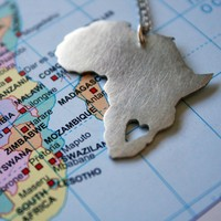 African Pendant Africa Necklace Continent Pendant sterling silver Map of Africa African Love