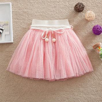 Retail New fashion girls tutu skirts baby ballerina skirt  Sashes tulle childrens chiffon fluffy kids casual skirt  2-6y