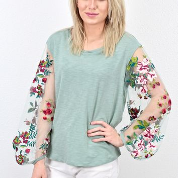 Floral Embroidered Mesh Sheer Sleeve Top {Dusty Mint}