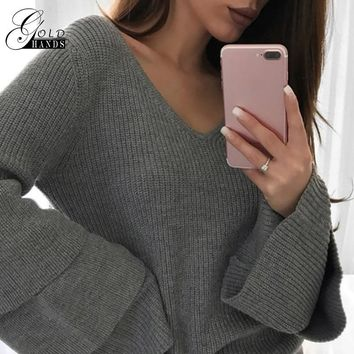 Gold Hands Flower Hollow Solid Cardigan Loose Stitching Sweater Women Layer Flare Sleeve Casual Slim Pullovers Knitting Knitwear