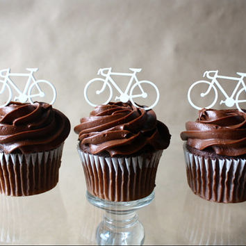 12 Acrylic Road Bicycle Cupcake Toppers (Acrylic)