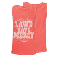 Southern Couture Lawd Have Mercy Red Orange Country Girlie Bright Tank Top Shirt