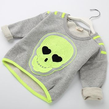 Kids T-shirts For Girls O-neck Skull Design Long Sleeve Tops