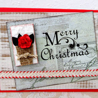 Merry Christmas Card - Bright Red - Christmas Card - Shabby Chic Flower - Rustic Style - Blank Inside - Holiday Card - Hand Stamped
