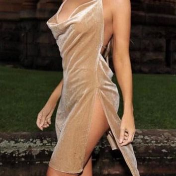 Khaki Tie Back Slit Halter Neck Backless Homecoming Party Mini Dress