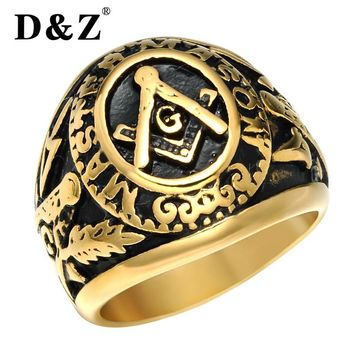 D&Z Vintage Freemasonry Masonic Rings of Men Gold Silver Stainless Steel Master Free Masonic Signet Male Ring Band Punk Jewelry