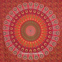 Large Red Floral Indian Psychedelic Mandala Tapestry Wall Hanging Bedspread Bedding - RoyalFurnish.com