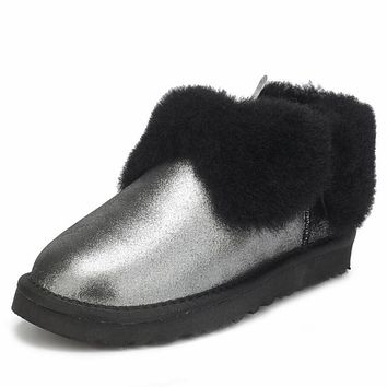"""UGG"" Popular Women Men Winter Four-Leaf Fur Snow Boots Warm Anti-Skid Short Boots Black"