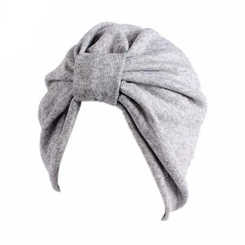 Muslim Solid Stretch Cotton Ruffle Knot Turban Hat Bandana Scarf Cancer Chemotherapy Chemo Beanies Headwrap Caps Hijab Hair Loss