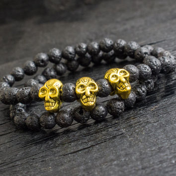 Double wrap black lava stone beaded stretchy bracelet with gold skulls, made to order yoga bracelet, mens bracelet, womens bracelet