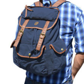 Canvas Daypack Fashion School Backpack - Dark Blue $69.99