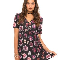 Motel Blackout Babydoll Dress in Dried Roses