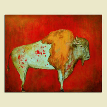 Red Buffalo art print Southwestern distressed wall art perfect gift for him