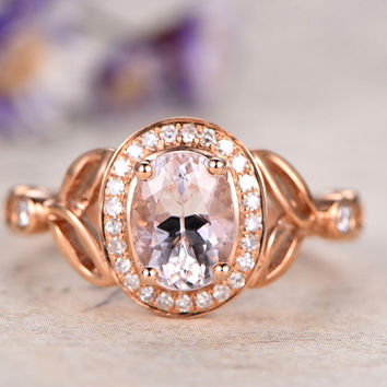 6x8mm Oval Morganite Engagement Ring,Diamond Solid 14k Rose Gold promise ring for her,custom made Women fine jewelry,Floral Art Deco ring