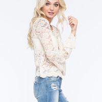 FULL TILT Bell Sleeve Lace Womens Crop Top | Blouses