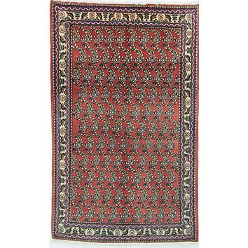 Oriental Tribal Abadeh Persian Wool Rug, Red/Beige