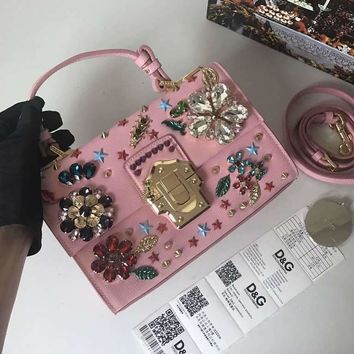 KUYTOU D038 Dolce Gabbana DG Cowhide Lizard Inlaid Diamond Fashion Handbag Pink