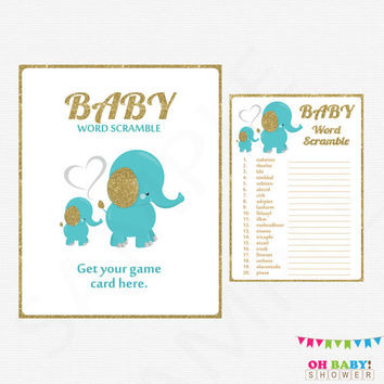 Teal Baby Shower Games, Baby Word Scramble, Teal Blue Gold Elephant Baby Shower Game, Boy Baby Shower, Baby Shower Sign Printable EL0004-tg