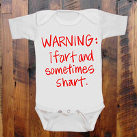 Baby Clothes Warning: I fart and sometimes shart. baby romper. bodysuit. original hand screen print. funny baby clothing. baby shower gift.