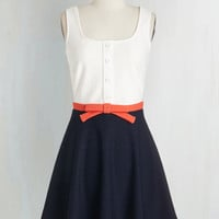 Colorblocking Short Length Sleeveless Fit & Flare Just a Matter of Maritime Dress