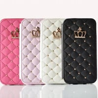 Fashion Cute Women Girl Flip Wallet Stand Leather Case For Apple iPhone 6 6S / Plus Pink White Black Back Cover + Screen Film