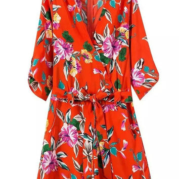 Summer Women's Fashion V-neck Floral Print Butterfly Fine Strap Jumpsuit [4919984132]