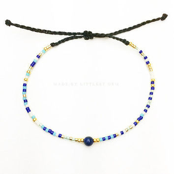 Lapis Lazuli Friendship Bracelet - Best Friend Bracelet - Best Friend Gift - Beaded Bracelet - Seed Bead Bracelet - Gemstone Bracelet
