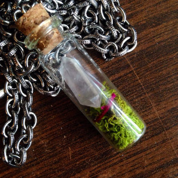 Terrarium Necklace Mini Crystal Terrarium Necklace Crystal Necklace Girlfriend Gift Moss Terrarium Boho Micro Terrarium Fairy Garden Crystal