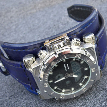Mens wrist watch leather bracelet, Blue watch Cuff, Military Watch, Watch Strap, Black Watch Cuff
