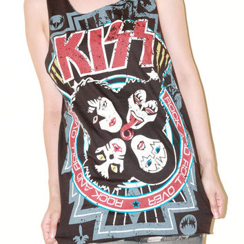 KISS Band Women Top Charcoal Black Kiss Shirt  Women Tunic Singlet  Music Shirt Tank Top Tunic Vest Singlet Sleeveless Rock T-Shirt Size M