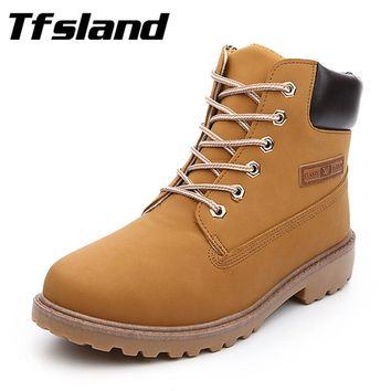 Tfsland Winter Women Men Tactical Combat Leather Sports Boots Army Military Desert Walking Shoes Lovers Travel Outdoor Sneakers