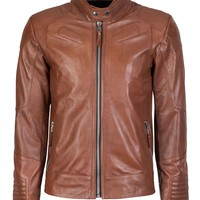 Two Tone Classic Biker Creased Antique Brown Leather Jacket - Boda Skins