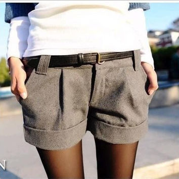 Autumn And Winter Women Turn-Up Straight Woolen Bootcut Short Pants Plus Large Big Size Casual Shorts Black Grey
