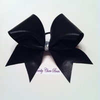 Black Mystique Cheer Bow Silver Glitter Center