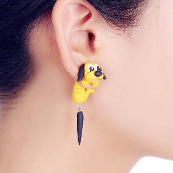 2016 New Design Fashion Cartoon Yellow Dog Stud Earring 100% Handmade Polymer Clay 3d Animal Earrings For Women Free Shipping