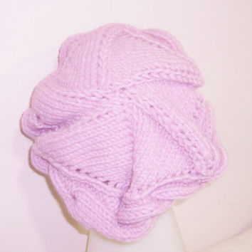 Hand knit Beanie Womens Beanie Baby Pink Slouch Cable Women's Hat Beanie