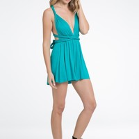 Plunging Multi-way Romper - Jade