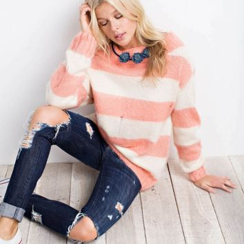 Striped Off the Shoulder Sweater Top