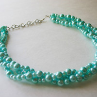 Tiffany Blue Soiree Necklace - Triple Layer Statement Jewelry
