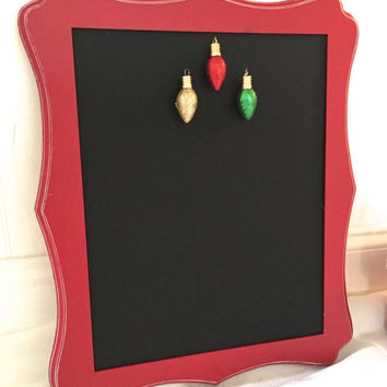 Framed Chalkboard Magnet Message Board 11 x 14 Distressed Red - Black -  Gold - Magnetic Board with holiday Magnets- Christmas